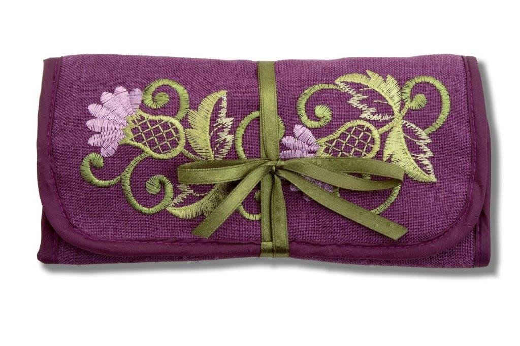 Jewelry Roll in a Glencoe Thistle Design. by Justina Claire