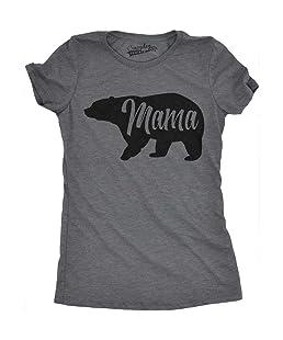 Womens Mama Bear Funny T Shirt for Moms Gift Idea Novelty Wild Animal Family Tee (Dark Grey) -S