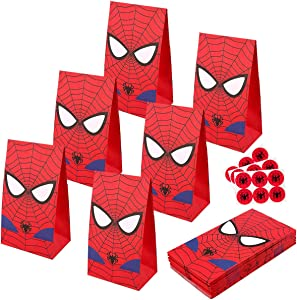 RecooTic Spiderman Party Bags Goodie bags for Kids Superhero Themed Party, Set of 24