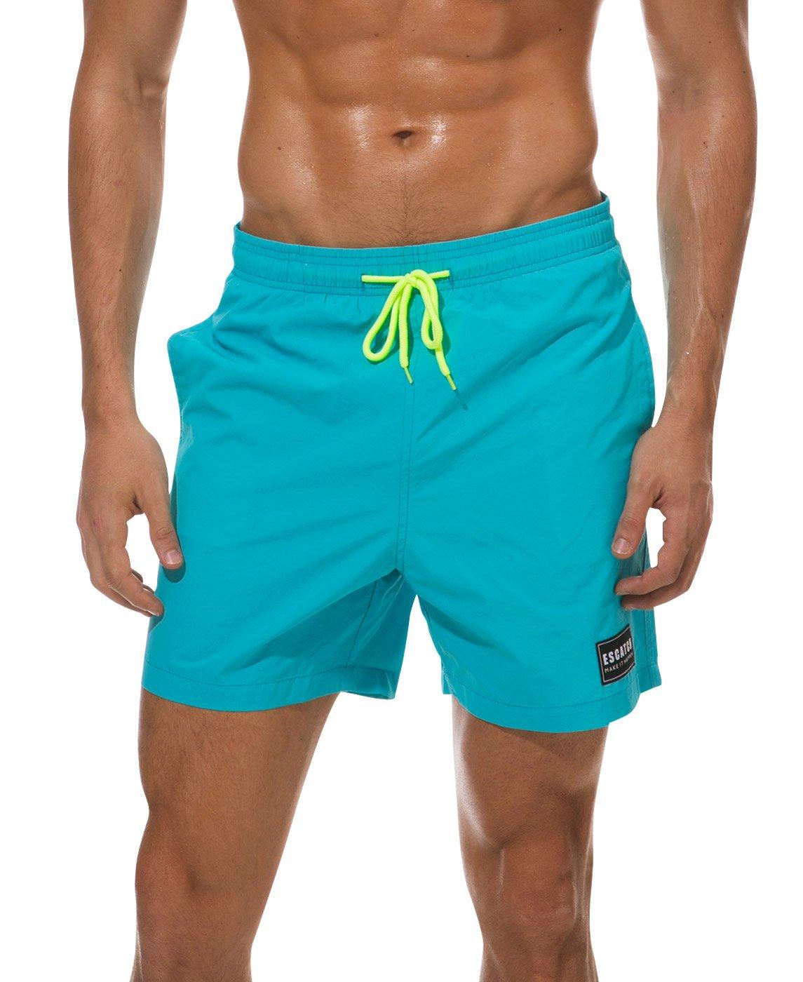Mens Summer Swim Trunks Quick Dry Board Shorts Elastic Waist Soprts Shorts Above Knee Trunks for Surfing Running ESCATCH
