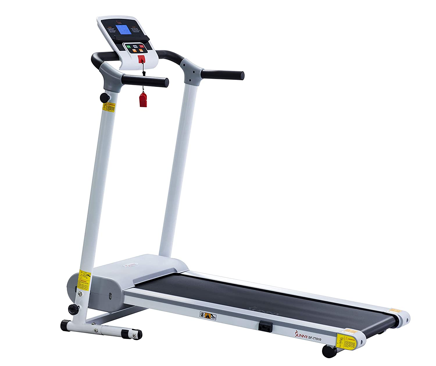 Sunny Health Fitness Electric Walking Folding Treadmill with LCD Display and Tablet Holder, 220 LB Max Weight
