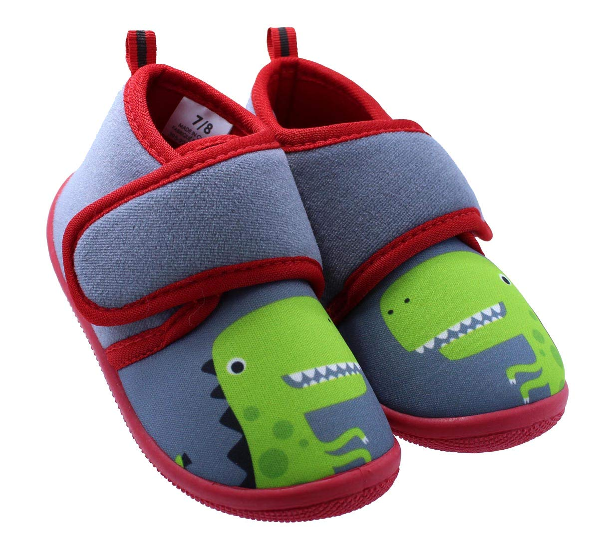 Black and White Dinosaur Toddler Boy's Daycare Slippers (5-6 M US Toddler)
