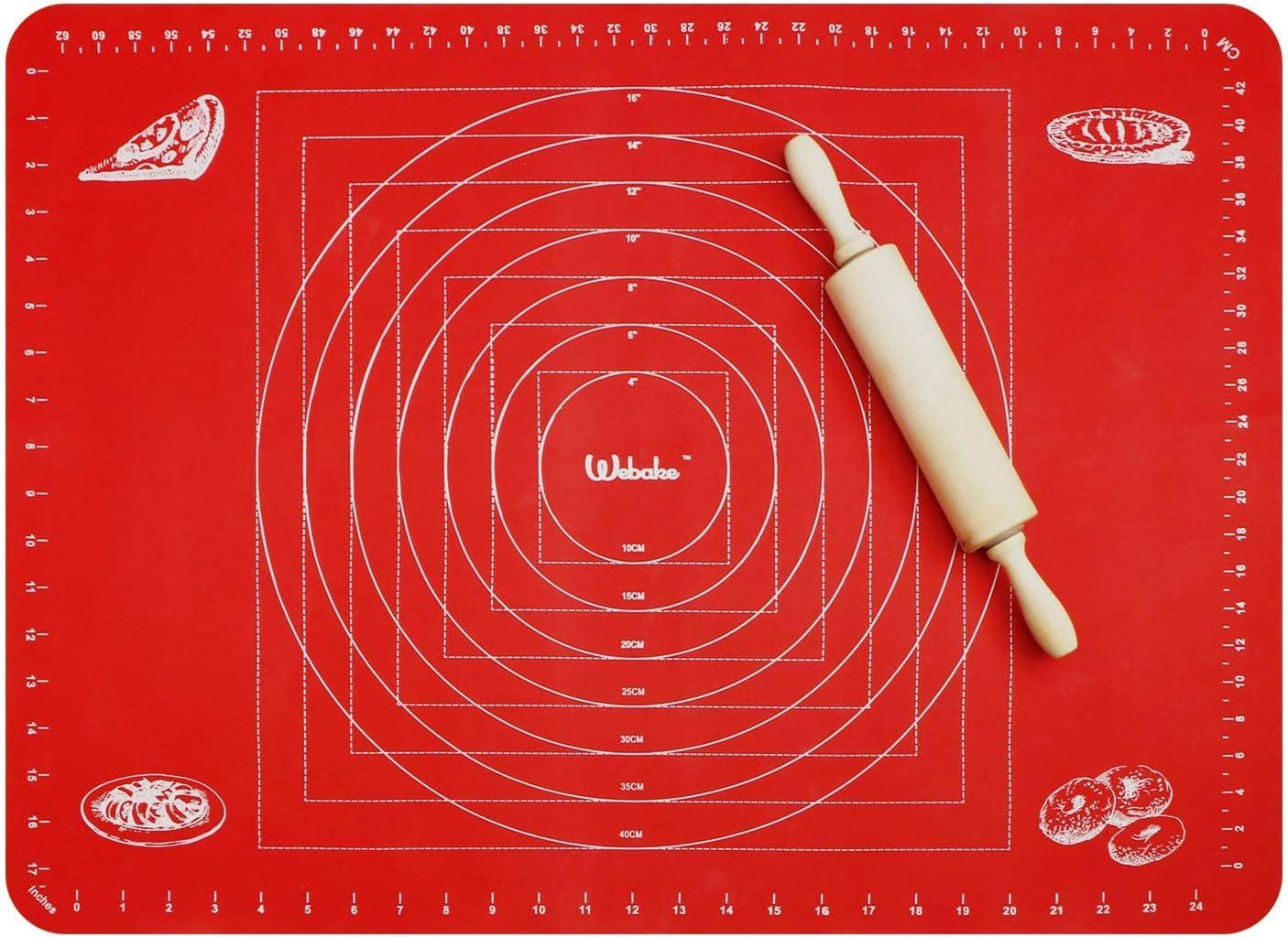 Webake Tapete de Silicona para Hornear y Amasar 70 x 50 cm Silicona de Grado Alimentario