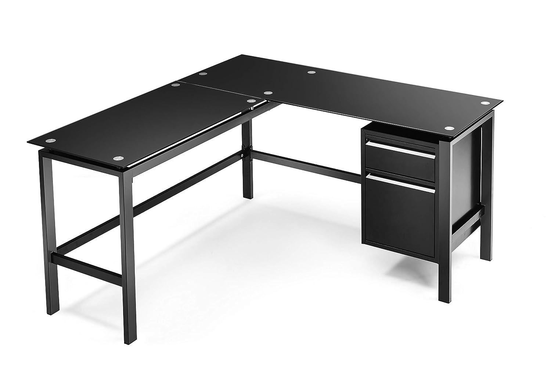"""buy popular 0cedd ad627 Superday L-Shaped Desk Corner Table Computer Desk Workstation Desk Black  Glass L Home Office Desk w/Drawers 56""""x 56"""""""