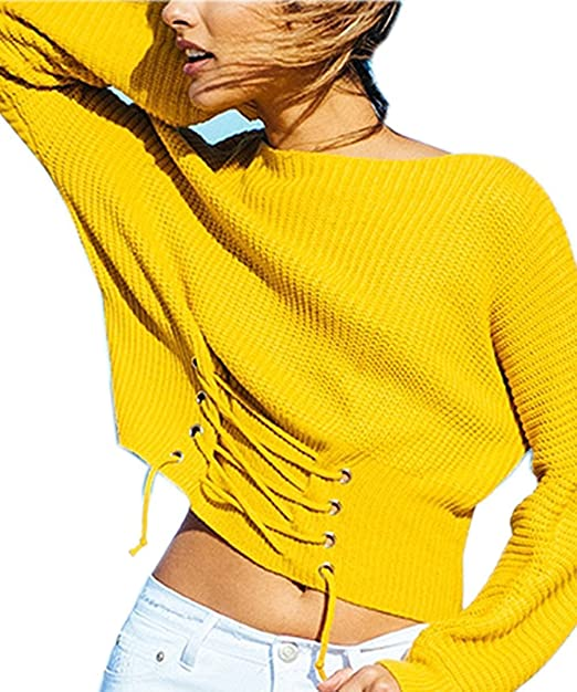 112e54eccfd4 Choies Women s Yellow Lace-up Front Rib Knit Teens Sweater  Amazon ...