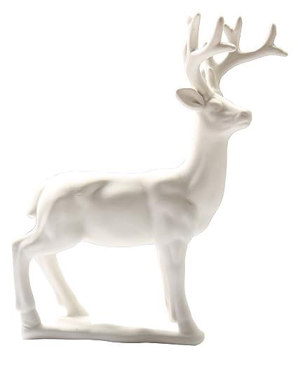 greencherry christmas decor 95 ceramic standing matte white reindeer figurine statue base - White Deer Christmas Decoration