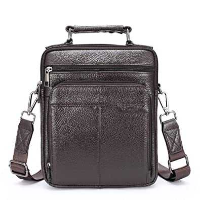 Langzu Handmade Mens Leather Messenger Shoulder Bag Ipad Bag Handbag black