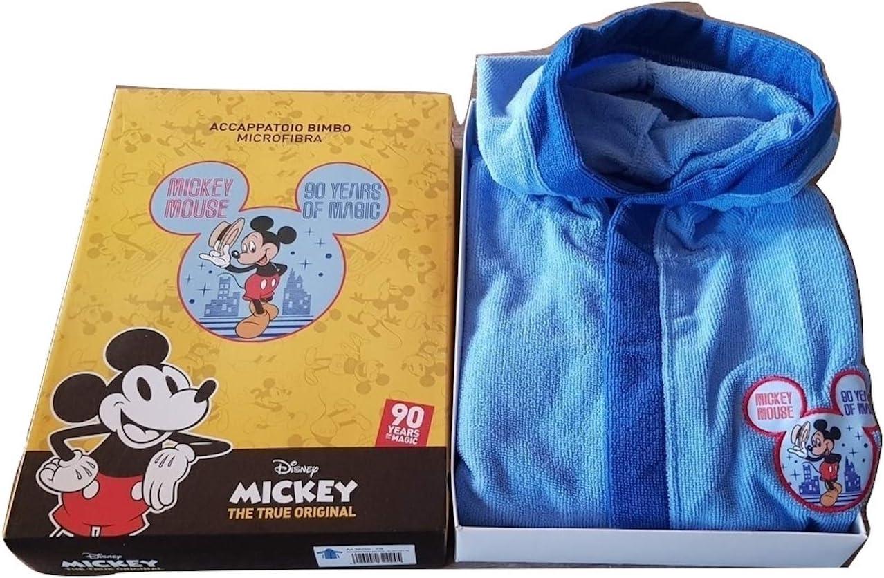 3//4 Anni hermet Accappatoio Bimbo Topolino Mickey Microfibra Colore Celeste Taglie 3//4-5//6-7//8 Anni