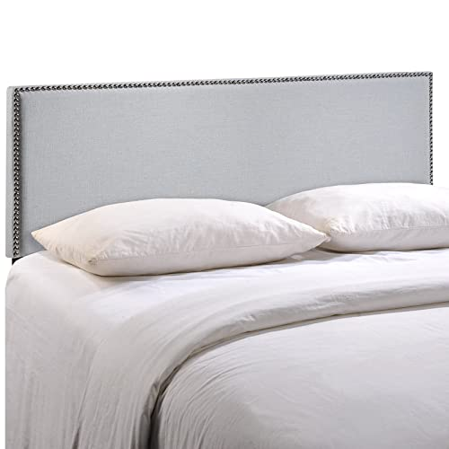 Modway Region Linen Fabric Upholstered King Headboard in Gray with Nailhead Trim