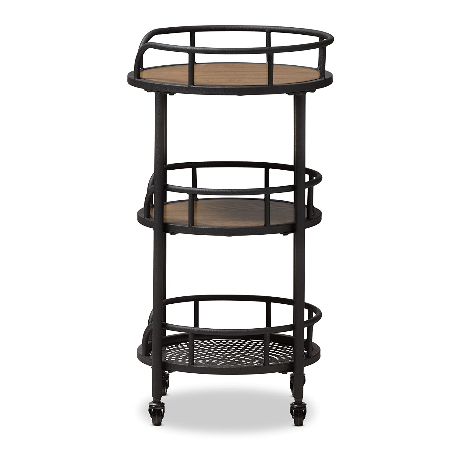 Baxton Studio Trolleys /& Carts Black//Walnut Brown Wholesale Interiors 424-7508-AMZ