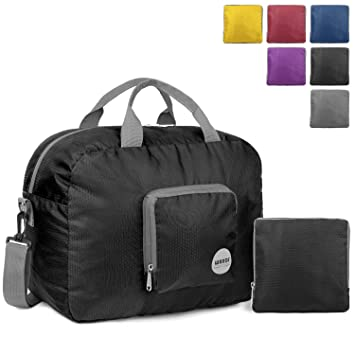 845d1c5f3d2 WANDF Foldable Travel Duffel Bag with Shoulder Strap Luggage Sports Gym  Water Resistant Nylon (Black 25L)  Amazon.co.uk  Luggage