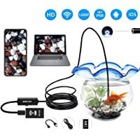 WIFI Endoscope - Semi-Rigid Cable Endoscope - Waterproof WiFi Inspection Endoscope Camera 1200P HD Resolutions - for Android IOS Tablet Iphone PC Mac (WIFI-1M)