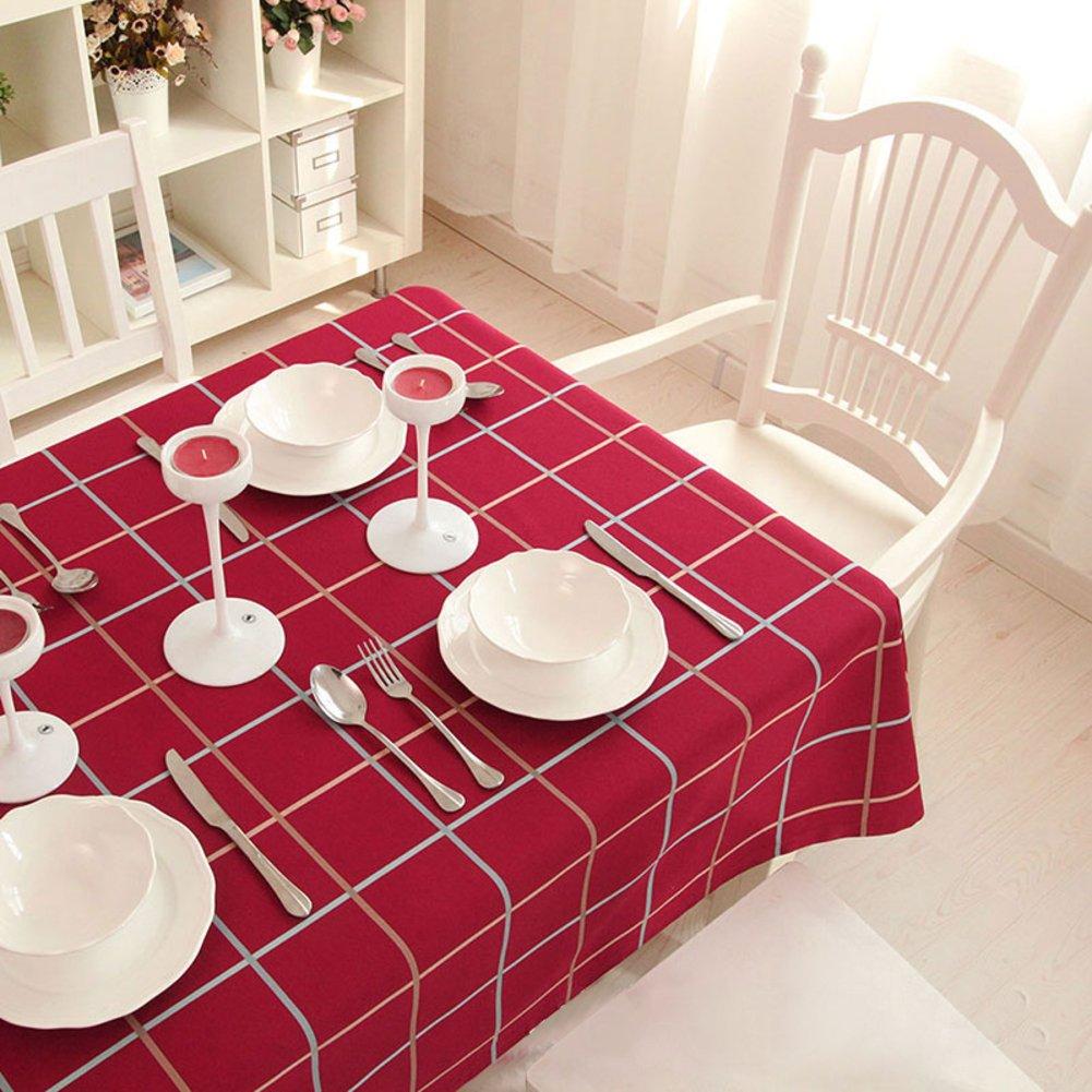 Bbdsj Home tischdecke,Raster tischdecke,Einfache familie tischdecke Baumwolle Pastoralen stil Längliche tischdecke Quadratische tischdecken Rotes tuch-Rot 140x200cm(55x79inch) B07CXZJYBM TischdeckenHochwertige Produkte   Kaufen