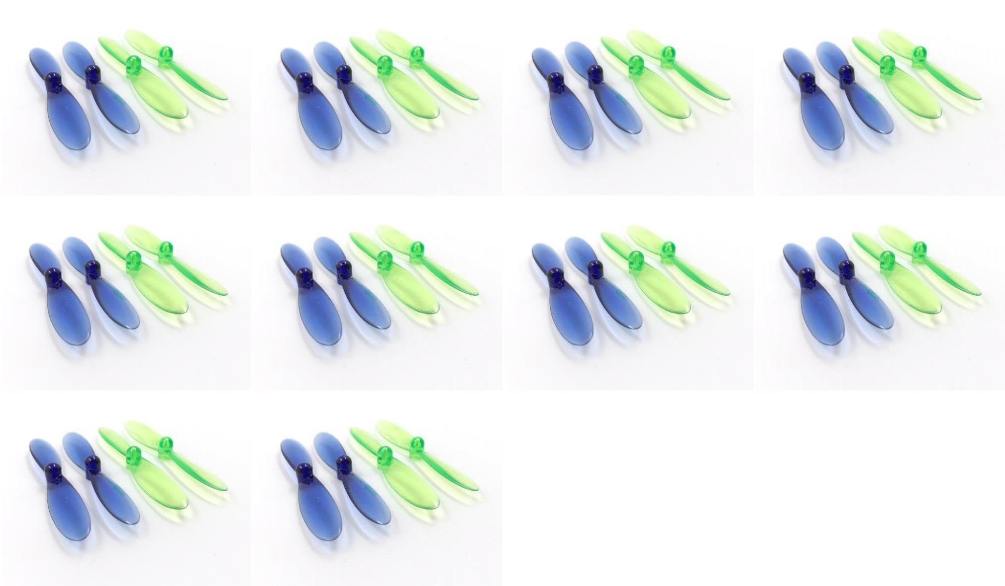 10 x Quantity of Attop YD-713 Transparent Clear Blue and Green Propeller Blades Props Rotor Set 55mm Factory Units 2