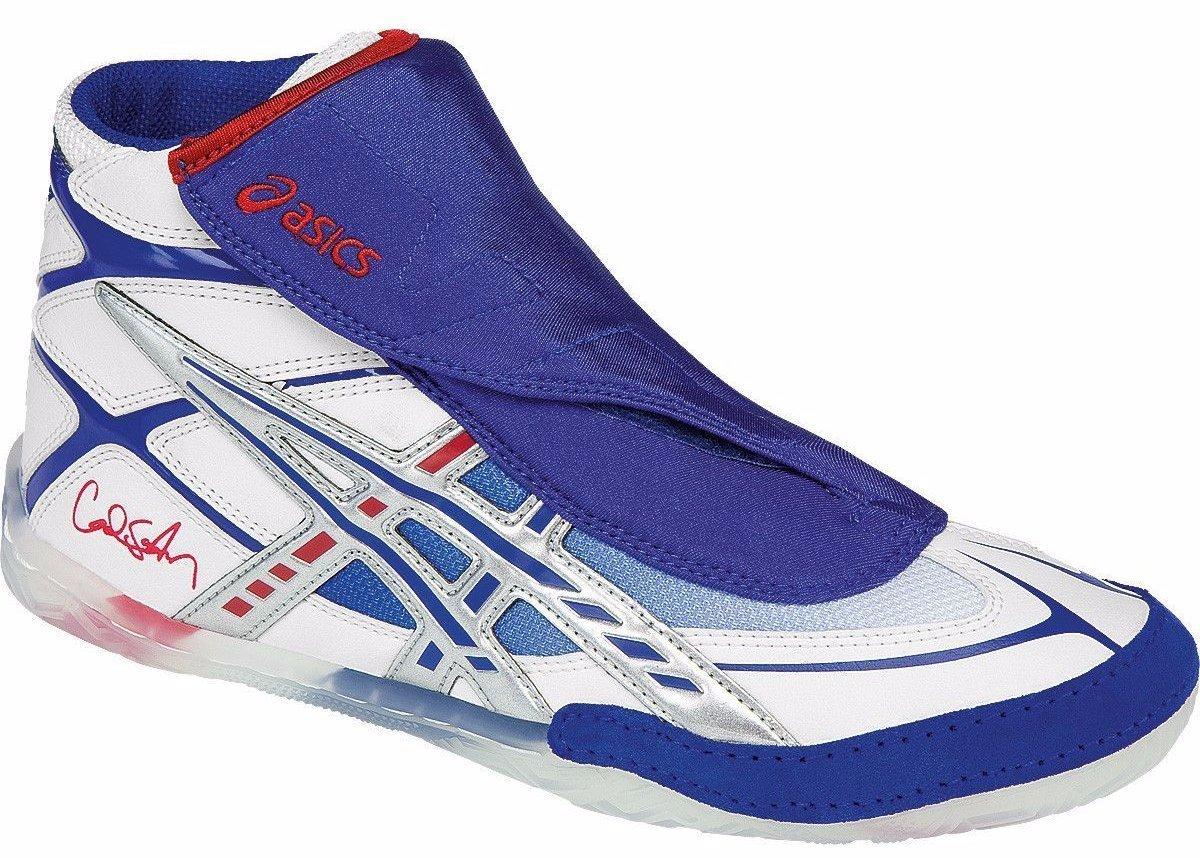 ASICS Men's Cael Wrestling Shoe, White/Blue/Red, 11 M US
