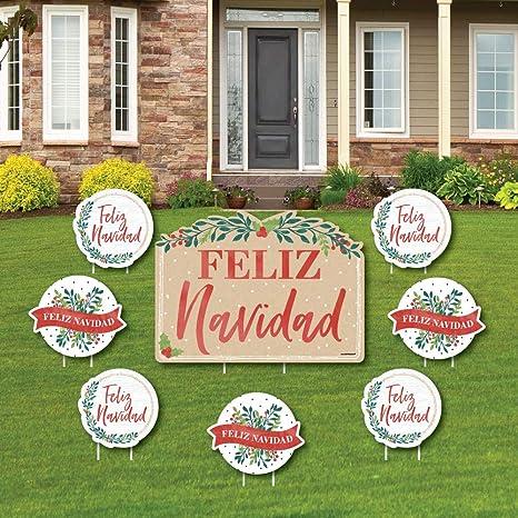 Christmas Lawn Decorations.Amazon Com Feliz Navidad Yard Sign And Outdoor Lawn
