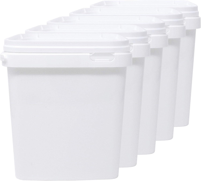 Luxury & Grace Pack 5 Cubos de Polipropileno Alimentario, 5 L (21x19cm). Reciclables, 100% Libres de BPA.