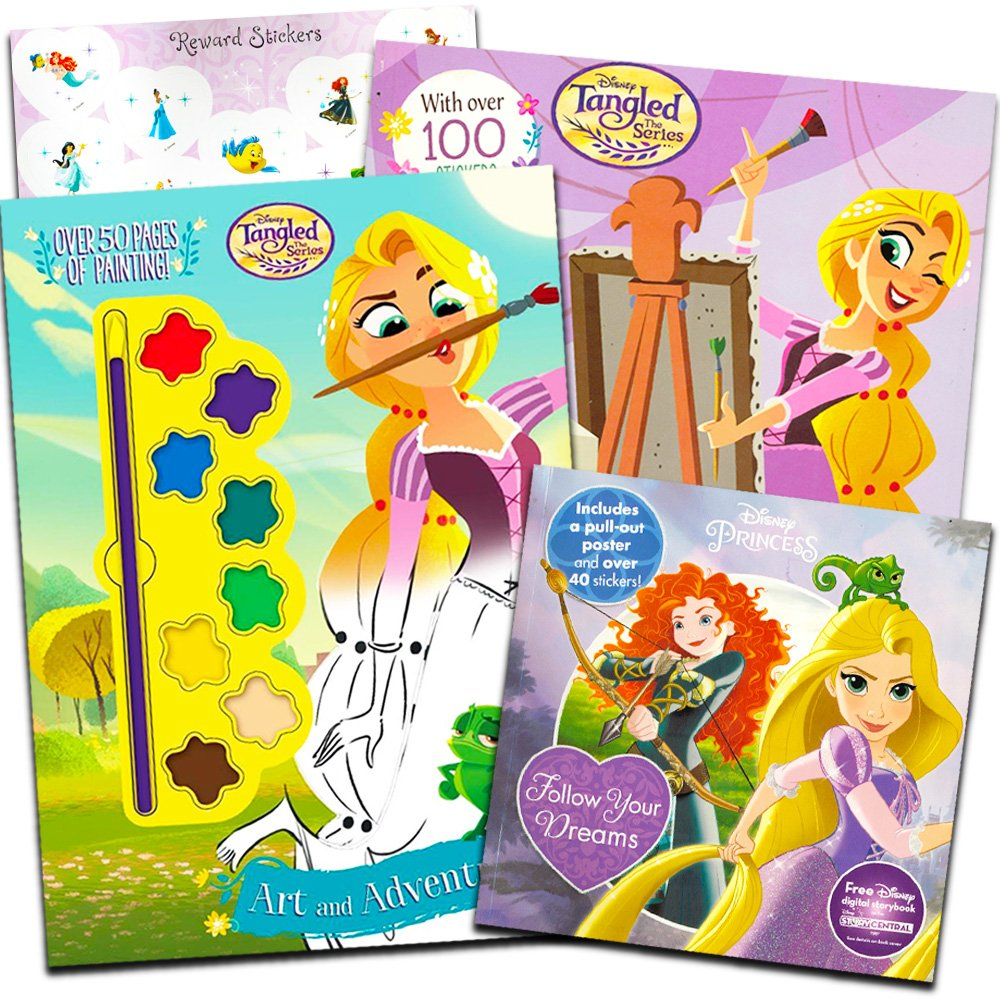 Disney Tangled Activity Book Set -- 3 Tangled Rapunzel Books Filled with Painting, Coloring and Sticker Activities (Tangled Party Supplies)
