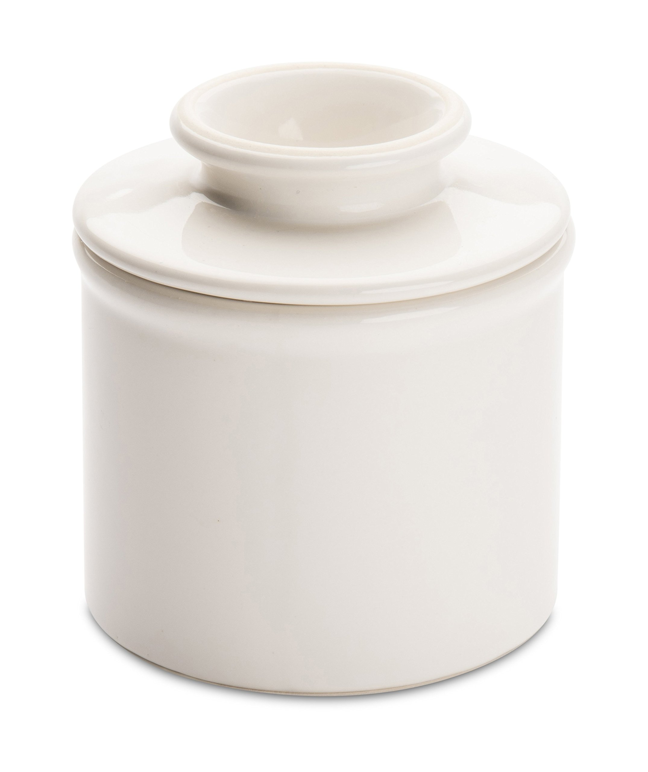 American Mug Pottery Butter Keeper/Butter Dish, Made in USA, White
