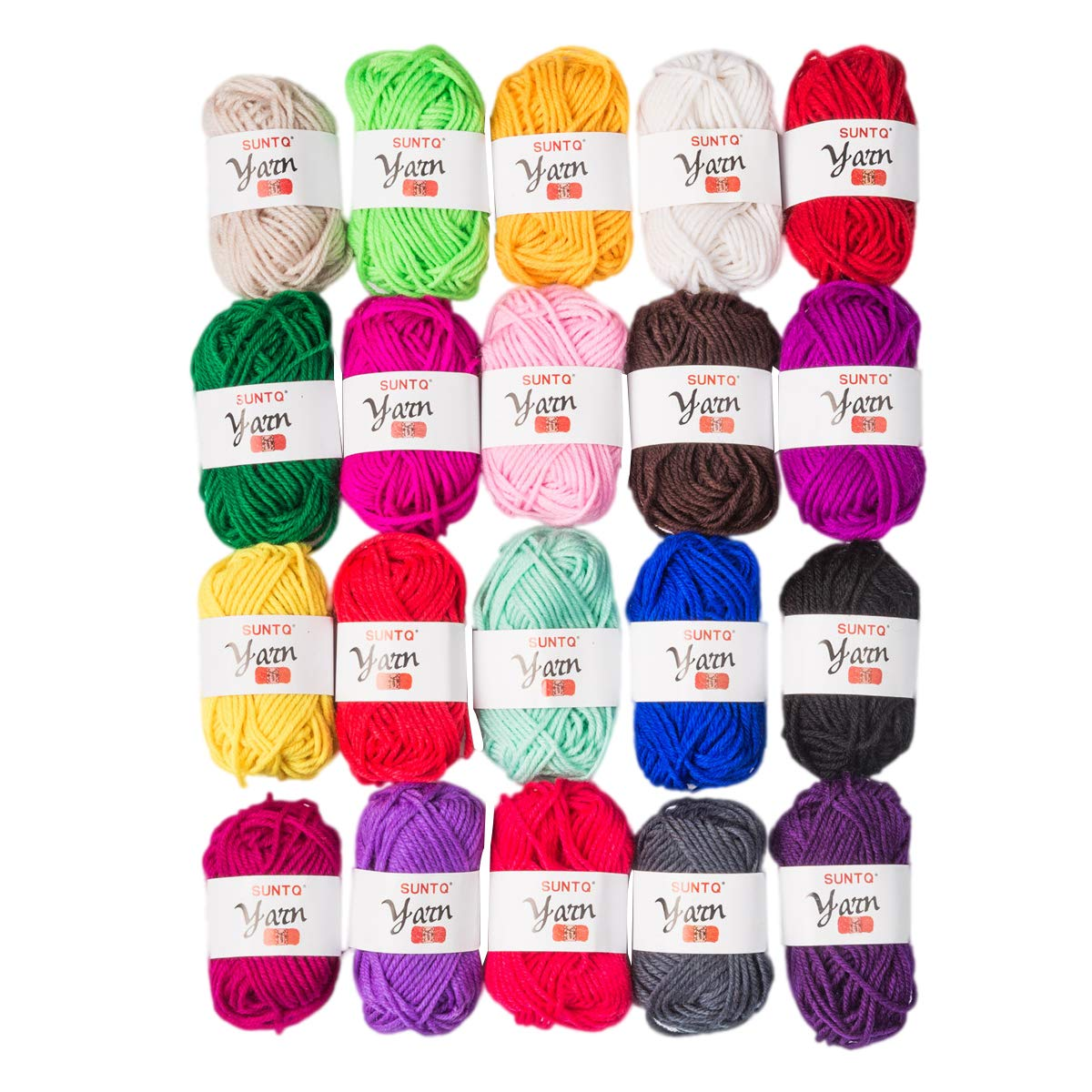 SUNTQ 100% Acrylic Yarn 20 Assorted Colors Skeins Bonbons Yarn for Crochet & Knitting Assorted Rainbow Variety Colored Assortment