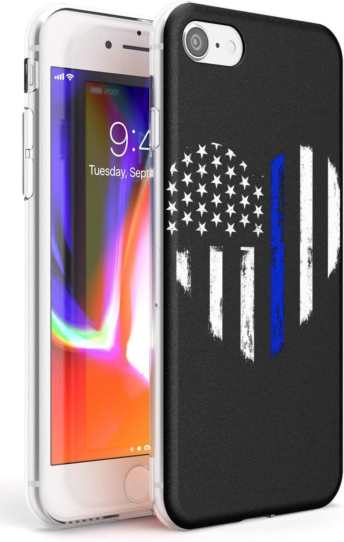 Case Warehouse Americana Thin Blue Line Slim Funda para iPhone 7 Plus TPU Protector Ligero Phone Protectora con Mundo Tendencia Estados Unidos Bandera Libertad