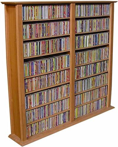 Media Storage Tower-Regular Double Oak