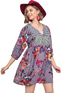 26d926515d1 Umgee Tassel Tie Peasant Bohemian Tunic Dress (Medium, Off-White) at ...
