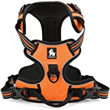 """PetsUp ABS Nylon Dog Harness with 3 m Reflective Vest, Front Range and Handle-Small, 43"""" -56"""" Cm Girth (Orange)"""