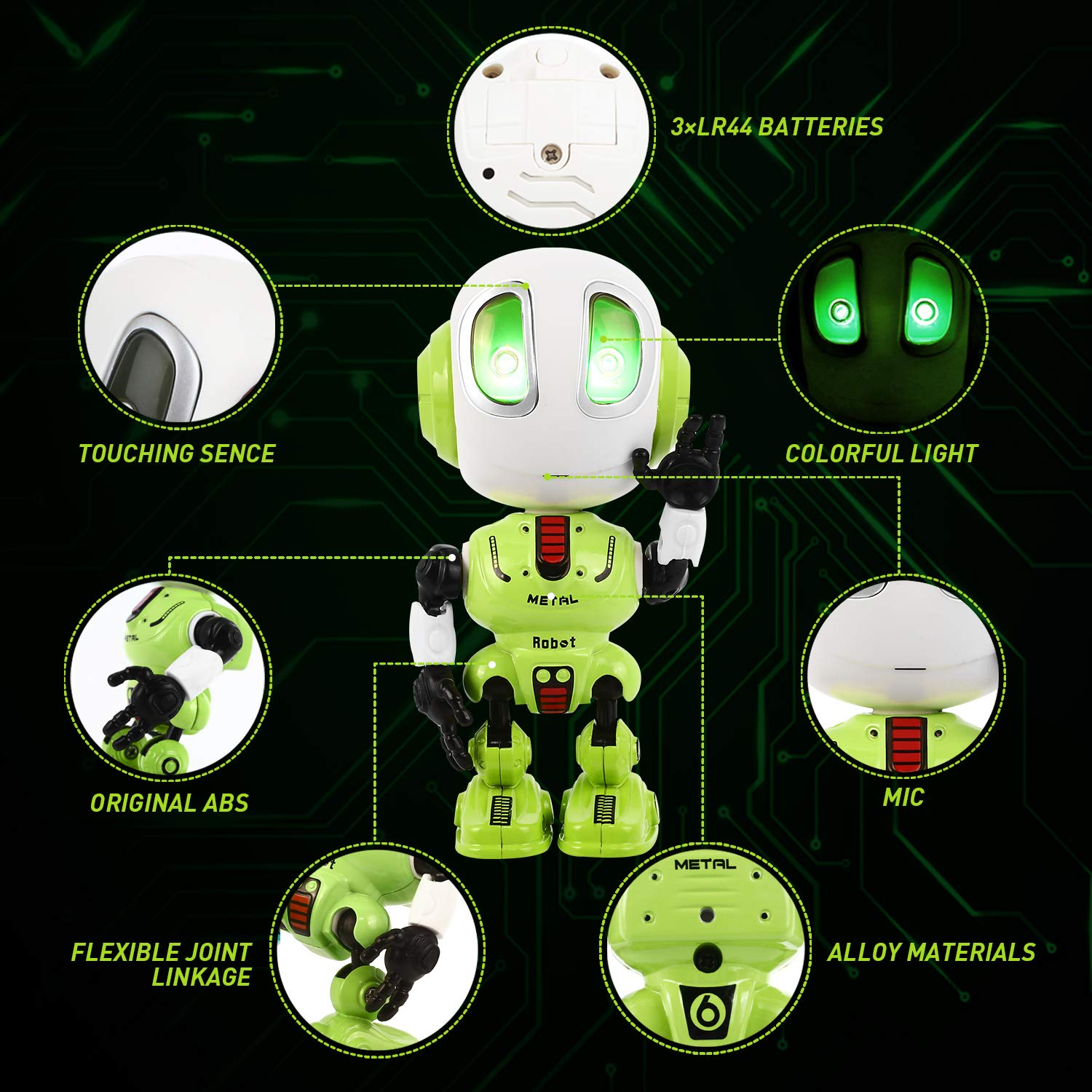Peradix Recording Talking Robot Toys for Boys& Girls little Kids Robot model Lighting and Sound, Education Toys For Toddlers Children Birthday Presents Gifts for Aged 3-12 Years Old (Green)