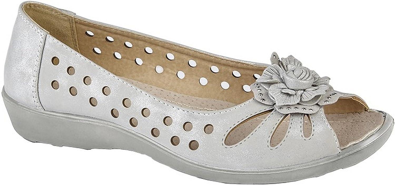 Boulevard Femmes/femmes Fleur Coup-de-poing Escarpin Bout Ouvert Light Silver