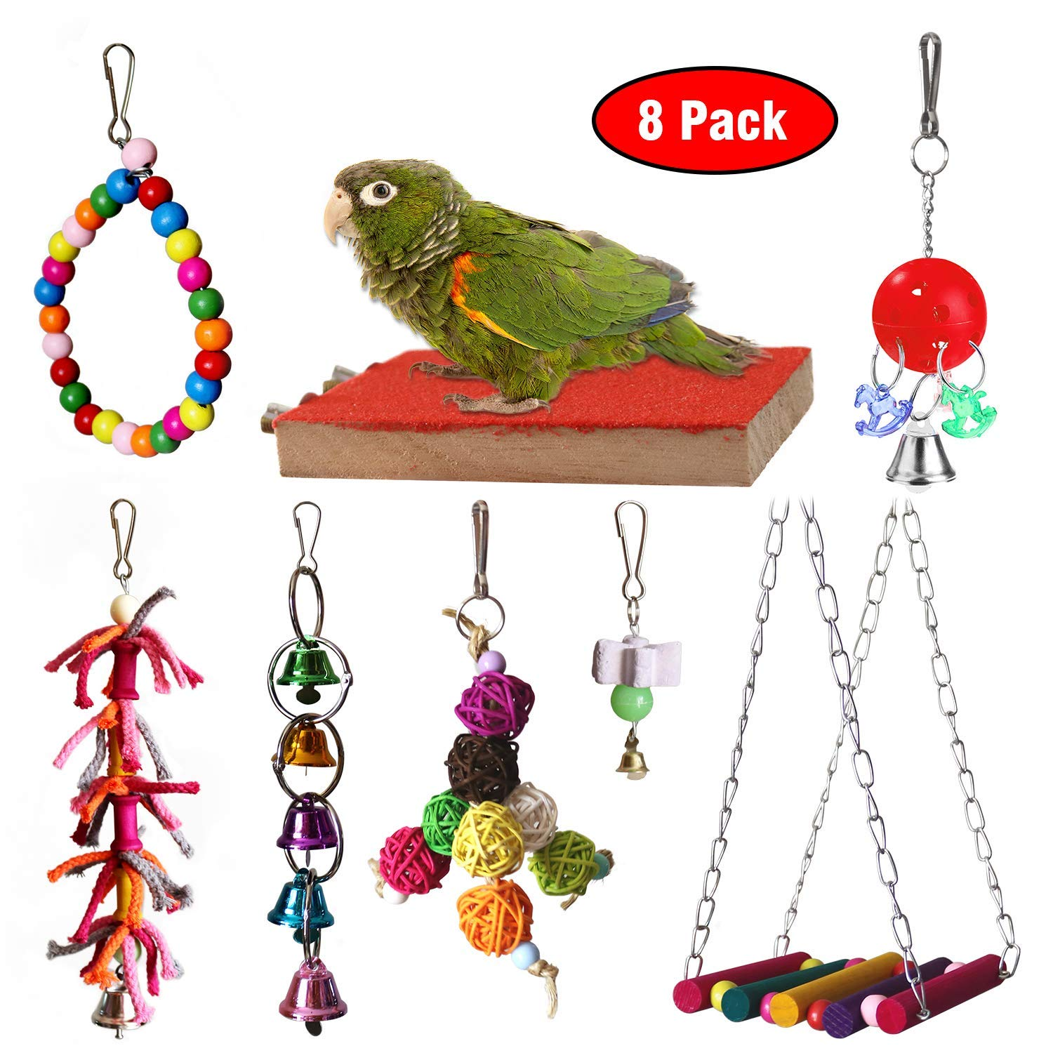 RYPET Bird Chewing Toy 8 Packs- Bird Parrot Toys Bird Hanging Bell Toy Pet Parrot Hammock Swing for Small Medium Birds by RYPET