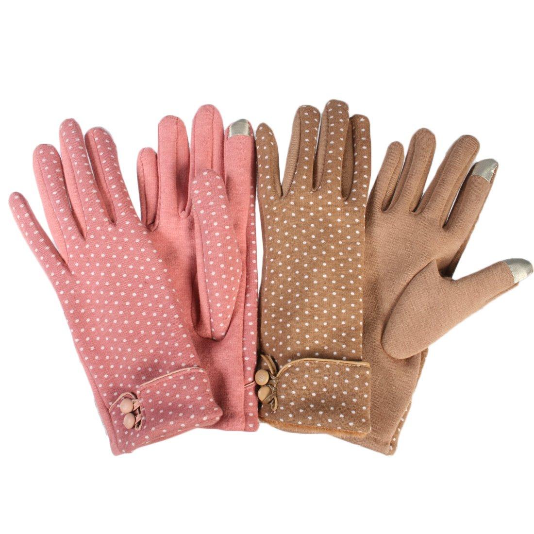 kilofly Women's Touchscreen Texting Smartphone Warm Winter Gloves, 2 Pairs Set