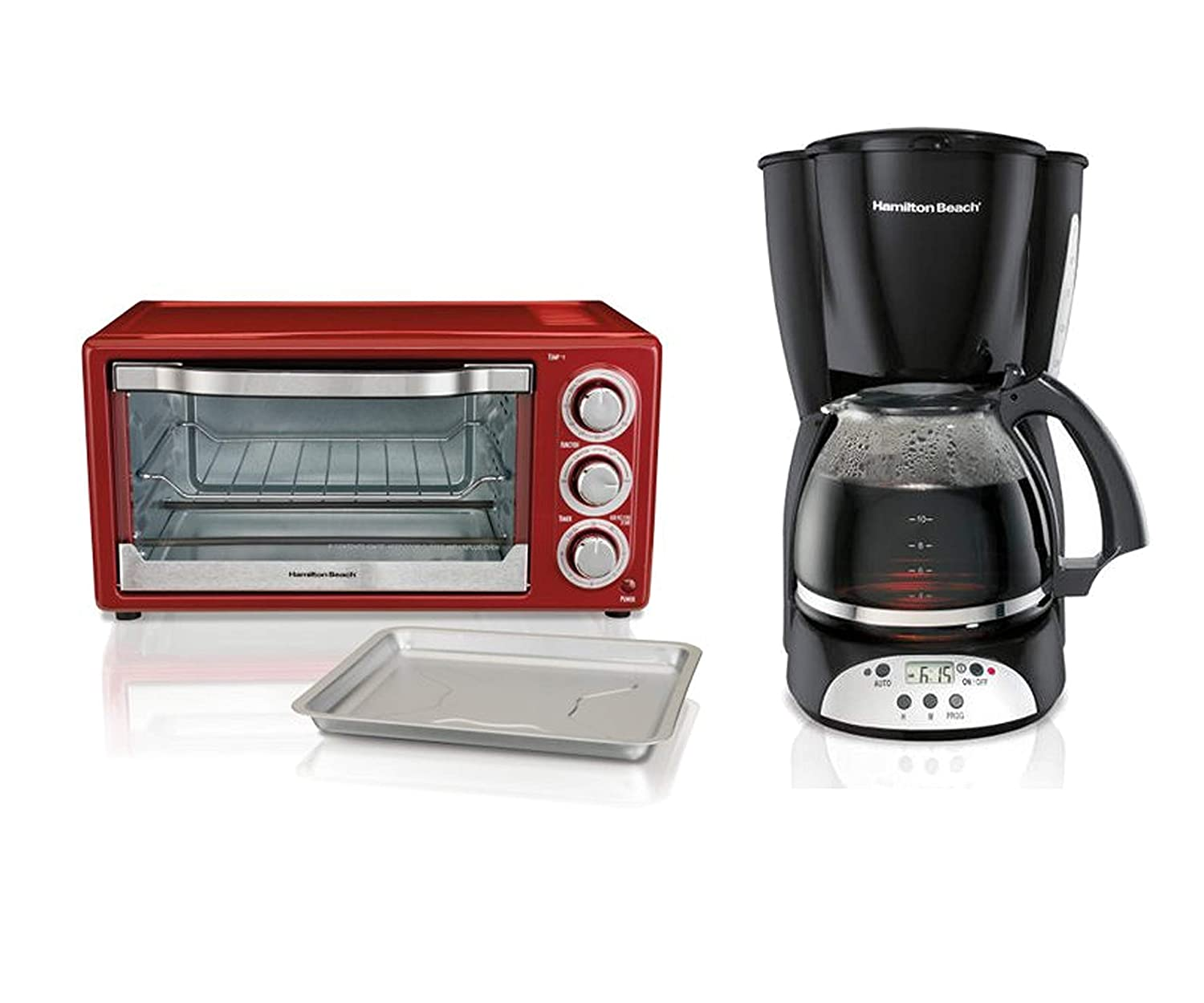 Hamilton Beach 6 Slice Toaster Convection or Broiler Oven, Red bundle with Hamilton Beach 12 Cup Programmable Coffee Maker