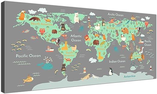 Mapa del mundo animal sobre lienzo, arte para dormitorios infantiles, imágenes educativas para niños, para la sala de juegos infantil, 120 cm de ancho, 1294: Amazon.es: Hogar