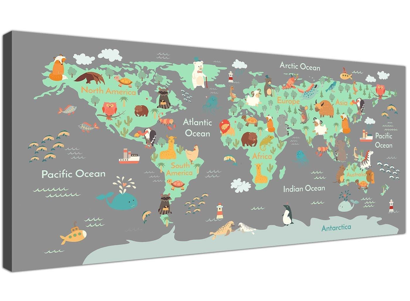 1294 Carte du monde é ducative avec animaux sur toile pour chambre d' enfants 120 cm de large Wallfillers
