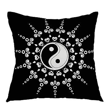 Amazon.com: OFloral Yin Yang Funda de almohada estilo ...