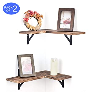 Olakee Corner Wall Shelves Rustic Wood Corner Floating Shelves for Bedroom Living Room Bathroom Kitchen Set of 2