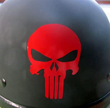 Amazoncom Reflective Punisher Skull In RED Helmet Decal - Vinyl stickers for motorcycle helmets