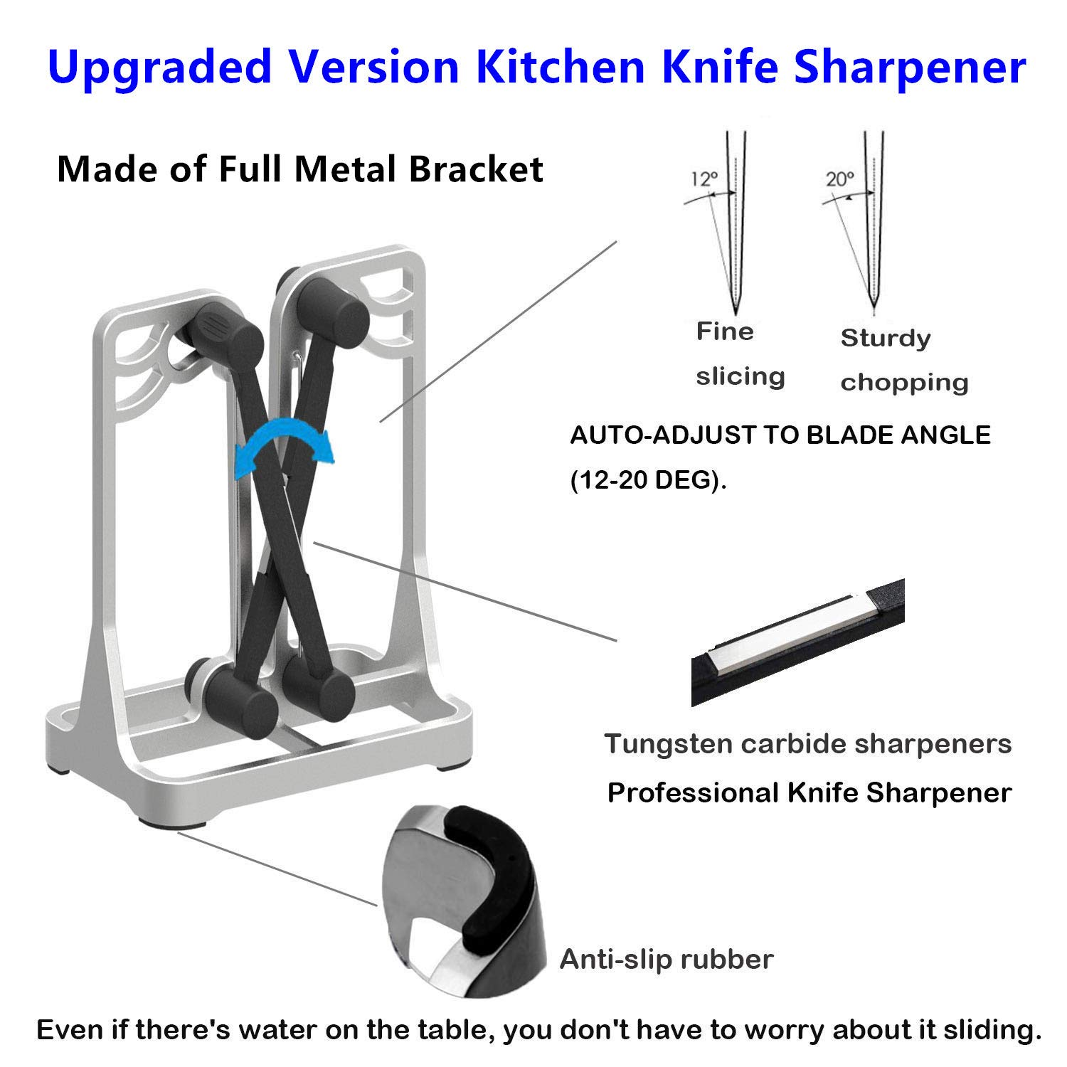 Knife Sharpener - Upgrade Made of Full Metal Bracket - Sharpens & Hones & Polishes Beveled Blades, Standard Blades, Chef's Knives - Safe & Easy to Use Kitchen Tools by Ehoyal by Ehoyal (Image #2)