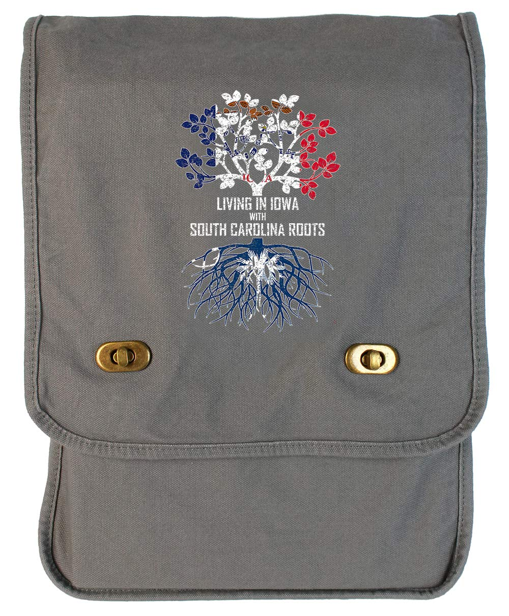 Tenacitee Living In Iowa with South Carolina Roots Grey Brushed Canvas Messenger Bag