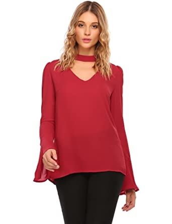 b5dd94affe43c2 Zeagoo Womens Choker Mock Neck Flare Sleeve Front Hollow Out Solid Keyhole  Blouse T-Shirt