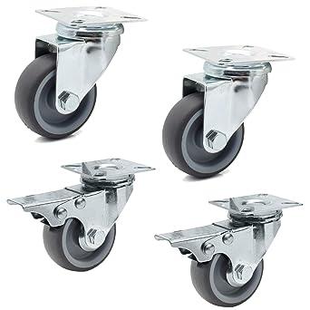 Miafamily ruedas ruedas de transporte y ruedas con freno Ruedas cargas pesadas Negro Goma Chapa de