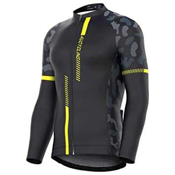 5c1c4393ea1903 4ucycling Men's Team Wear Cycling Jersey Long Sleeve Black-Yellow Long  Sleeve Cycling Jersey