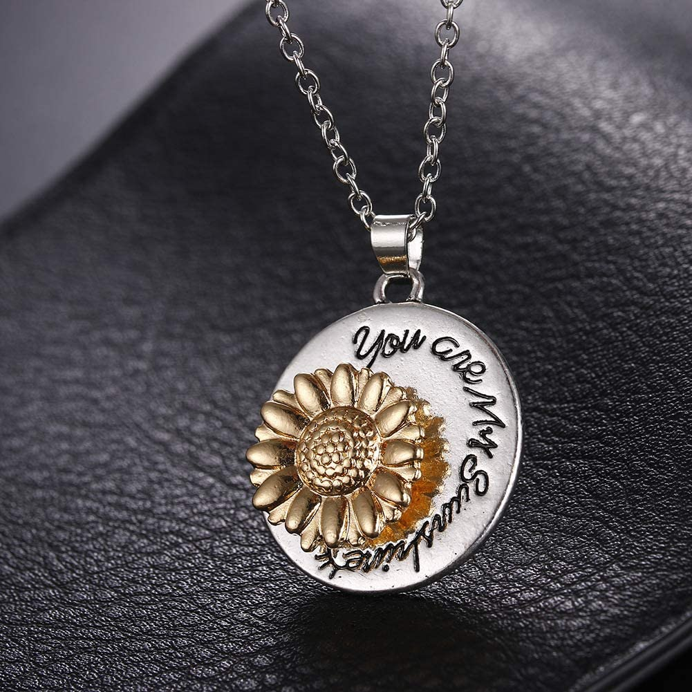Sunflower Necklace for Women Engraved You are My Sunshine