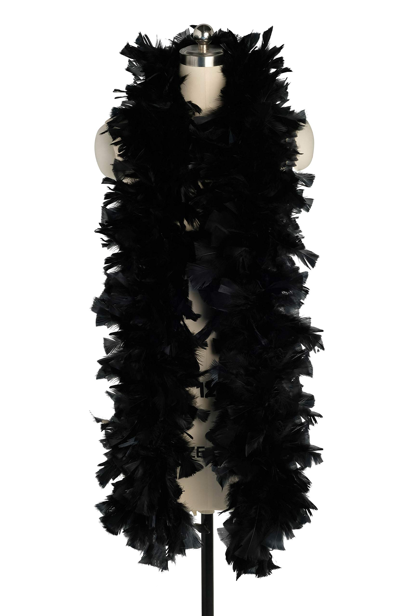 Zivyes 80inch Costume Feather Boas 1920s Flapper Accessories 150g Tea Party Dress up Costume Boa (A-Black)