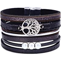 Ronglai Jewelry Tree of Life Leather Cuff Bracelet Wrap Bangle Boho Bracelets with Pearl for Women Teen Girl Boy Gifts