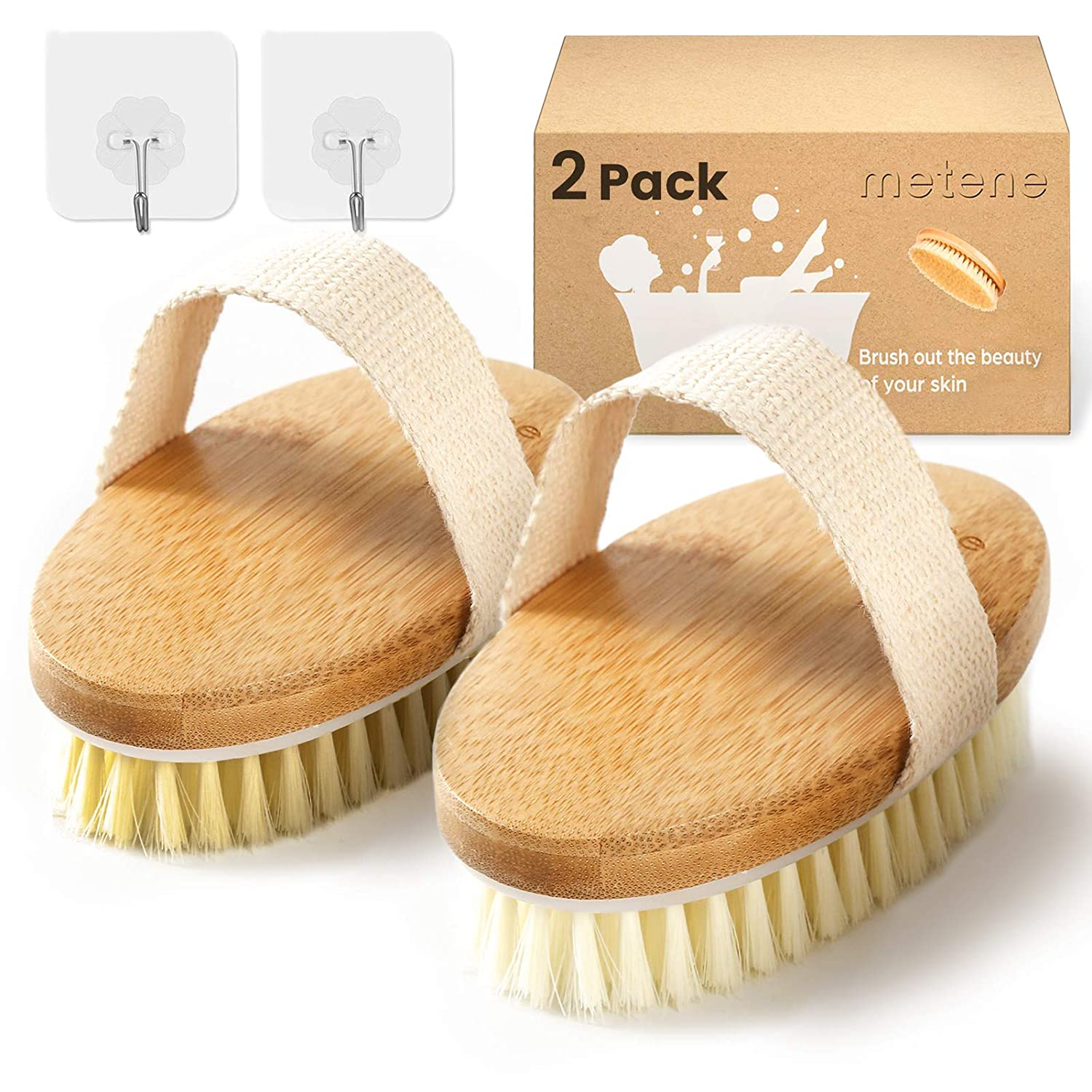 Metene Dry Brush, 2 Pack Dry Brushing Body Brush with Soft and Stiff Natural Bristles, Body Exfoliating Scrub Brush for Cellulite and Lymphatic, Improve Your Circulation, Dry Body Brush for Massage : Beauty