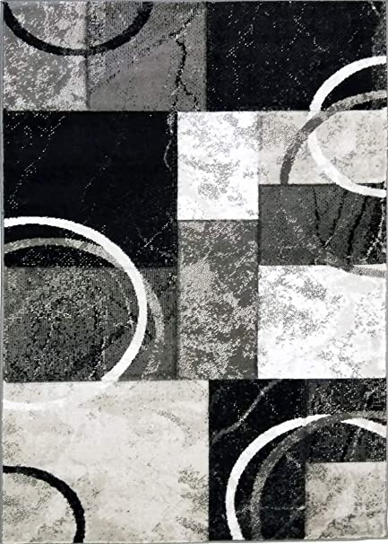 Adgo Atlantic Collection Modern Contemporary Abstract Geometric Circles Squares Swirls Living Dining Room Area Rug 5 X 7 Ak14 Black Grey