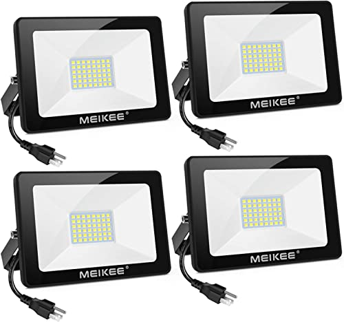 MEIKEE LED Flood Light, 35W 4Pack Bright LED Work Light with Plug, 3500LM LED Security Light, IP66 Waterproof Outdoor Security Lights 5000K Natural White Light Flood Light for Yard, Garden, Stadium