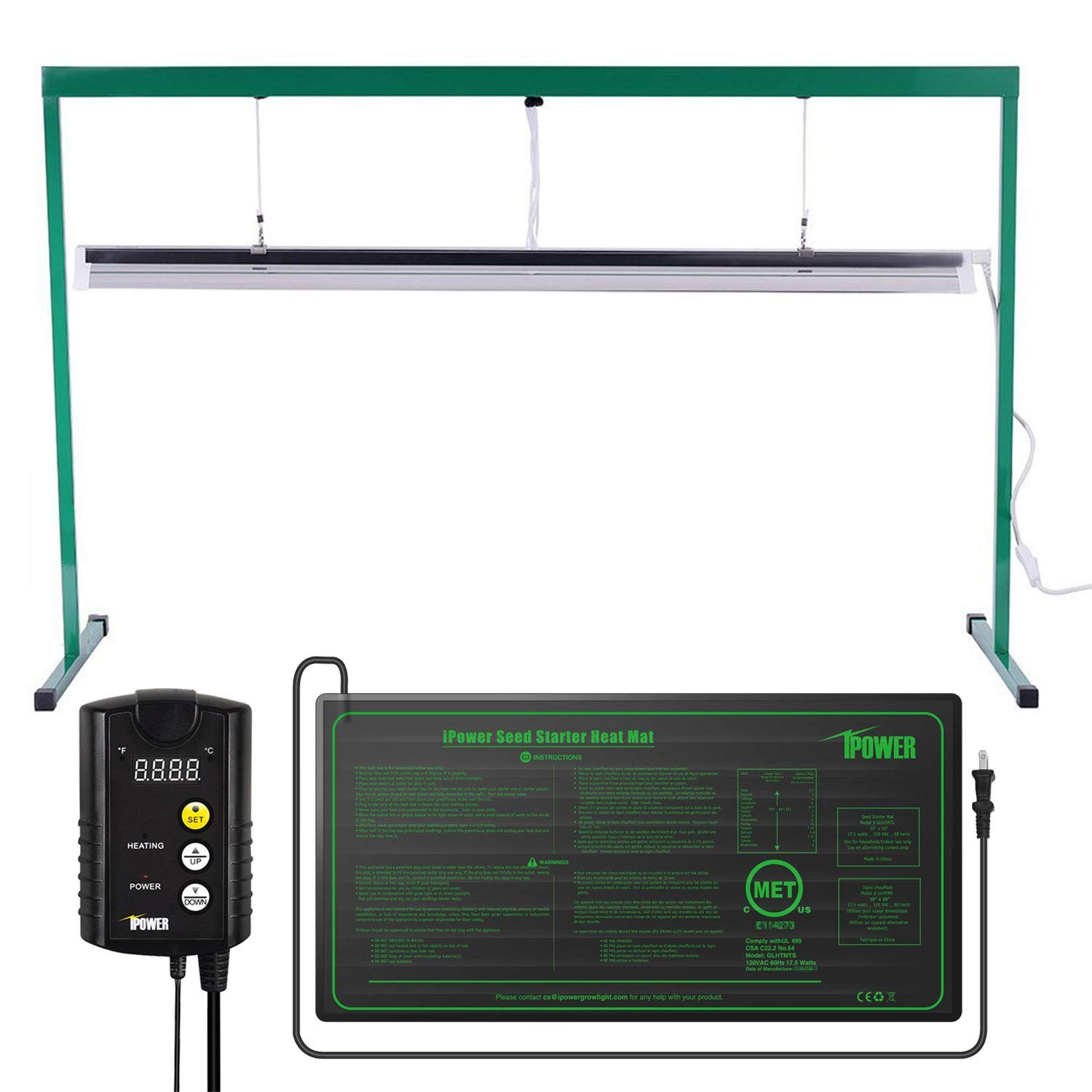 iPower 54W 4 Feet T5 Fluorescent Grow Light Stand Rack (6400k) and 10'' x 20.5'' Seedling Heat Mat and 40-108 Degrees Fahrenheit Digital Heat Mat Thermostat Controller Combo Set for Seed Germination